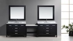 Two London Single Sink Vanity Set in Espresso Finish with One Make-up table in Espresso Modern Vanity, Modern Bathroom, Master Bathroom, Bathroom Vanities, Single Sink Vanity, Vanity Set, Free Standing Vanity, Home Remodeling, London