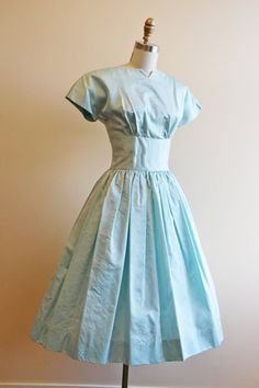1950s Dress Vintage 50s Party Dress Pale Blue by jumblelaya