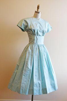 1950s Dress Vintage 50s Party Dress Pale Blue by jumblelaya