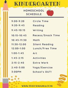 Homeschool Kindergarten Schedule and Curriculum - The Ox Mama homeschool schedule ideas Kindergarten Schedule, Kindergarten Homeschool Curriculum, Preschool Prep, Kindergarten Readiness, Kids Schedule, Kindergarten Lesson Plans, Homeschool Kindergarten, Preschool Lessons, Preschool Learning