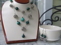 Antique silver tone birdcage bead draped necklace by HollyODesigns, $70.00
