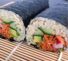 Brown Rice Sushi, bursting with nutrition! Carrot, cucumber, radish ...