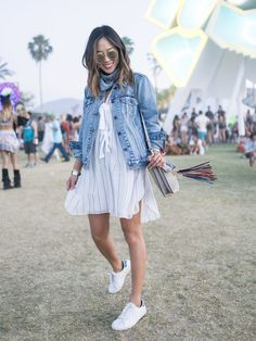 Aimee Song Wears Blue on Blue at Coachella