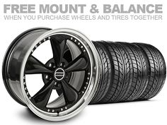 Staggered Black Bullitt Motorsport Mustang Wheel & NITTO Tire Kit - 18x9/10 (05-13) at AmericanMuscle - Free Shipping!