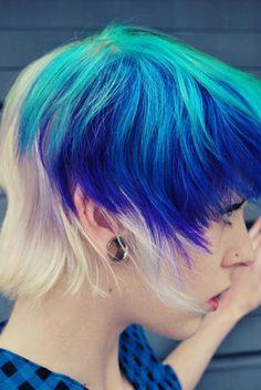Blue green blond hair