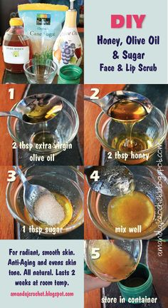 DIY Homemade Beauty Facial and Lip Scrub - Exfoliating - Radiant Skin - Anti Aging - All Skin Types - Evens Skin Tone - Easy Do it Yourself Home Remedy - All Natural made in your kitchen - Olive Oil, Honey, Sugar Scrub amandajcrochet. Face Scrub Homemade, Homemade Facials, Homemade Beauty, Diy Beauty, Beauty Tips, Beauty Regimen, Beauty Ideas, Beauty Secrets, Beauty Skin