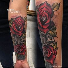 Gorgeous rose by Andrew Audish. #inked #Inkedmag #tattoo #rose #art #idea #color #Leaves #beautiful