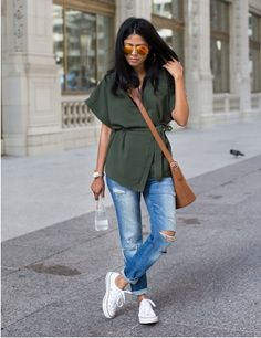 Khaki kimono+distressed jeans+white sneakers+camel crossbody+sunglasses. Summer Everyday Outfit 2016