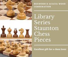 Library series chessmen is a beautiful yet functional design of chessmen that are best suited for analysis type chess games or for use in your library or study.  #RoyalChessMall #ChessPieces #chessmen #ChessBoard #LuxuryChess #ChessLife #ChessPlayer #chesslover #chessmaster #chessgame #chessmoves #chesssets #boardgames #playchess #woodenchessboardsforsale #chesswood Chess Moves, Wood Chess Board, Chess Players, Chess Pieces, Acacia Wood, Gift For Lover, Board Games, Mall, Study
