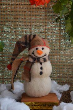 Felted snowman needle felting needlefelt by CoxayuyoArtesanias