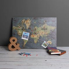 Full Colour World Map Print Laminated on to OSB Wood Board