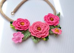 Crochet Necklace Choker Flower Floral Cotton Pink Freeform Pictures