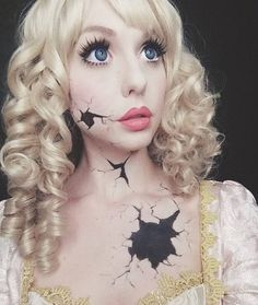 Check out our Spokesmodel @alexapoletti's newest #Halloween #YouTube video where she shows us ✨THREE✨ amazing #DollMakeup looks!! This is her #BrokenDoll inspired makeup featuring our #RingletRedux Collextion and lashes by @rockalash! . www.ROCKSTARWIGS.com