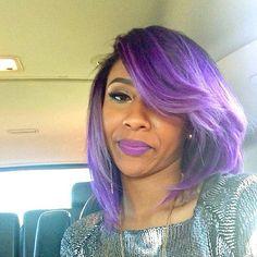 This purple bob tho  @diamondatl | #haircolor #shorthair #stunner #thecutlife ✂️ #Padgram