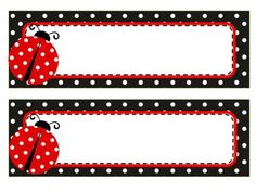 Set includes 3 sets of name tags and labels. - Red polka dot name tags and labels - Black polka dot name tags and labels - Green polka dot name tags and labels Can be mixed and matched. Perfect for ladybug themed classroom. Classroom Name Tags, Classroom Themes, Ladybug Crafts, Ladybug Party, Name Tag Templates, Nametags For Kids, Boarders And Frames, School Labels, Kid Names