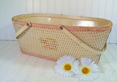 Ivory Wicker and Wood Baby Basket - Vintage Original Chippy Paint - Ready for Repurposing. $32.00, via Etsy.