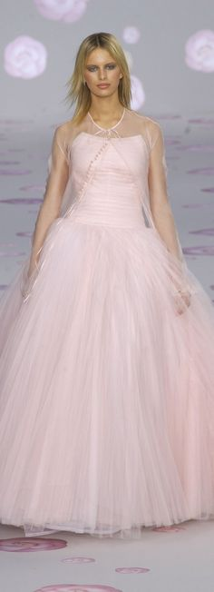 Chanel ~ Haute Couture Spring Pink Ball Gown w Sheer Cape 2002