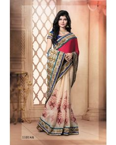 Cream And Pink Lace Border Saree