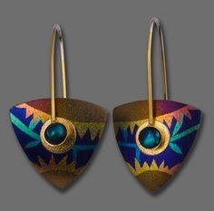 Earrings | Keith Lewis.  Sterling silver, niobium, paua