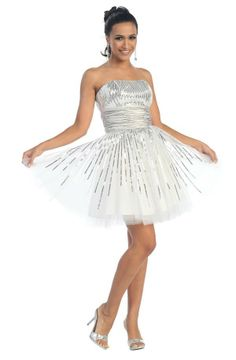 White Prom Dress Sequin Tulle Above Knee Strapless Satin Empire Gown $164.99