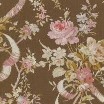 Brown Rose & Ribbon Floral Fabric by the Yard