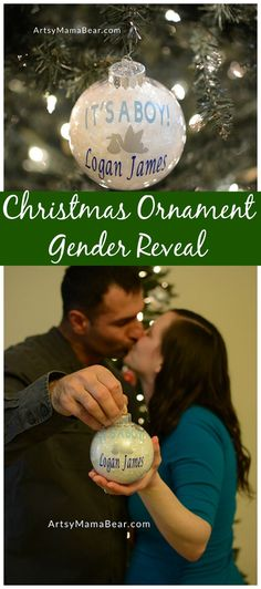 Christmas Ornament Gender Reveal, great memories! #christmasbaby #christmasgenderreveal #genderreveal #pregnant #momlife