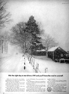 Yep, we never had trouble getting around in bad weather! Vintage VW Beetle Ads | thinkingouttabox