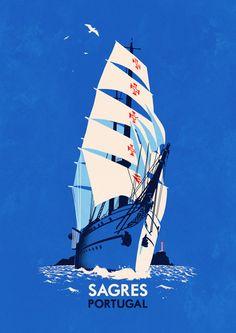 Sagres Portugal - Travel poster art of tall ship by rui-ricardo Retro Poster, Vintage Travel Posters, Travel Illustration, Illustration Artists, Illustrations, Algarve, Portugal Travel, Spain Travel, Drawing Skills