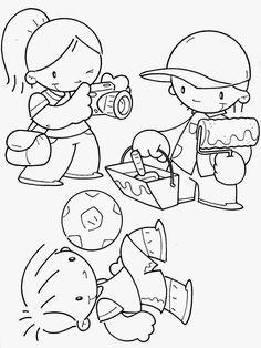 1º de Maio: Dia do Trabalho - 100 desenhos para colorir , texto e sugestões de Atividades! - ESPAÇO EDUCAR Toddler Crafts, Crafts For Kids, Cupcake Coloring Pages, Community Workers, Digi Stamps, Coloring Pages For Kids, Little People, Smurfs, Doodles