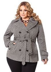 f88a910f3cb Pleather Trimmed Buckle Coat - Ashley Stewart Roupas Plus Size