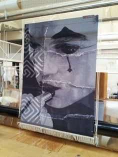 Untitled portrait tapestry (on loom) by London-based Australian artist David Noonan (b.1969) and the Australian Tapestry Workshop. via craft for misfits