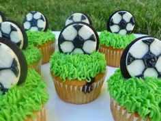 I made these for Wyatt's soccer team. I used a fudge swirl cake mix and an Oreo cookie for the ball.