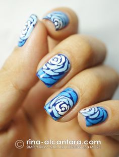 rose nails in blue