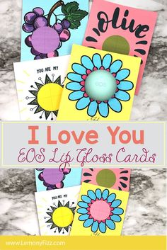 """I think this one might be one of my favorite paper crafts. This works for Mother's Day crafts or just a simple """"I Love You"""" gift for someone special. EOS Lip Gloss cards are fun and very easy to make! Cricut Tutorials, Card Tutorials, How To Make Diy, Crafts To Make, Fun Printables For Kids, Felt Crafts, Paper Crafts, Diy Crafts For Home Decor, Eos Lip Balm"""