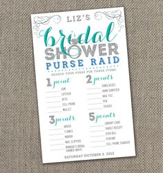 Bling Bridal Shower Purse Raid Game 5x8 by EventswithGrace