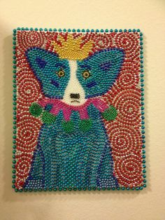 Mardi Gras bead art on canvas inspired by the blue dog paintings by artist George Rodrigue!