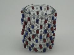 Votive candle holder knitted with patriotic red, white and blue colored glass beads & wire