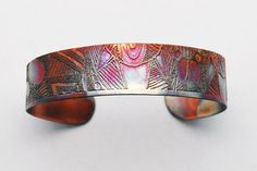 coloured copper pattern cuff by Anna McDade