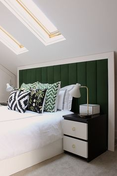 DIY headboard & green accent pillows | Fabric Paper Glue | Attic Living by fabricpaperglue