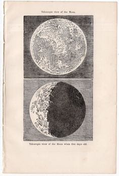 1867 telescopic view of the moon print original antique astronomy lithograph - full moon lunar surface craters & valleys by antiqueprintstore on Etsy