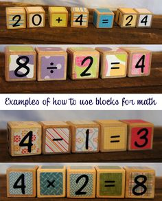 A fun way to teach your children numbers and math. Numbers and Math Wooden Blocks. $25.00, via Etsy.