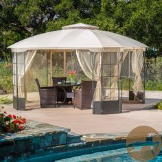 This elegant and stylish design is the perfect patio gazebo to add style to your backyard area. The metal frame, cloth top, and sheer curtains give this gazebo a nice elegant appeal. Gazebo Pergola, Pergola Canopy, Covered Pergola, Patio Roof, Pergola Kits, Pergola Ideas, Patio Ideas, Pergola Shade, Curved Pergola