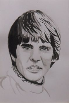 Ink Drawing of Davy Jones, The Monkees, Gareth Pritchard. Click the image to see the video.