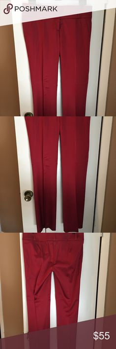 Bebe Red Sateen finish pants These pants! 😍 Red Bebe Sateen finish pants, with a slightly wide leg are amazing! They have just enough stretch to make them comfy, but look classy and lovely. They are for sure a show stopper! Red size 10 bebe Pants Wide Leg