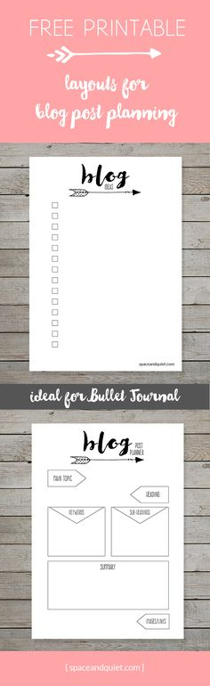 How to plan your blog posts in the Bullet Journal. Tips and ideas. Click through to download Free Bullet Journal printable blog planner layouts!