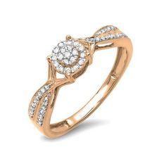 0.15 Carat (ctw) 10k Rose Gold Round Cut Diamond Ladies Engagement... ($209) ❤ liked on Polyvore