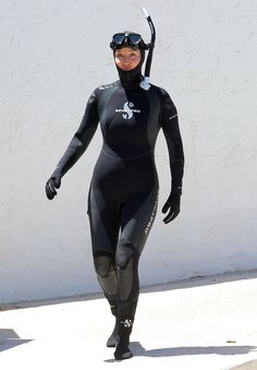 """Emma Thompson stayed covered up head to toe while shooting a scuba-diving scene for her upcoming flick, """"Love Punch,"""" in Antibes, France."""