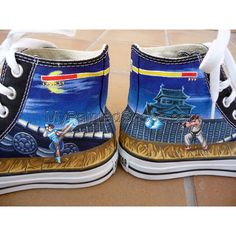 dd14b74d799b Street Fighter shoes High-top Painted Canvas Shoes. Fighting GamesAll StarCustom  Converse ShoesCool ...