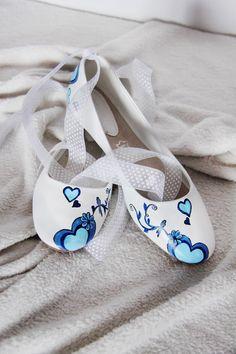 svatební baleriny, modré se stuhou