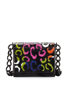 Crocodile Pattern Crossbody Bag, Black/Multi, Black Multi - Nancy Gonzalez
